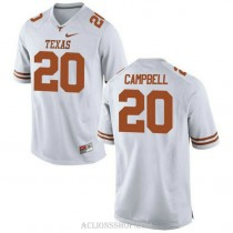 Womens Earl Campbell Texas Longhorns #20 Authentic White College Football C76 Jersey