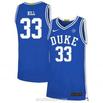 Womens Grant Hill Duke Blue Devils #33 Authentic Blue College Basketball C76 Jersey