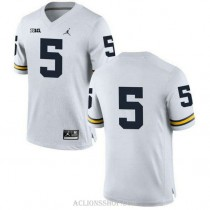 Womens Jabrill Peppers Michigan Wolverines #5 Limited White College Football C76 Jersey No Name