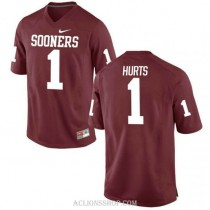 Womens Jalen Hurts Oklahoma Sooners #1 Authentic Red College Football C76 Jersey