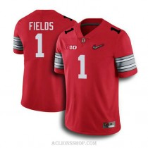 Womens Justin Fields Ohio State Buckeyes #1 Champions Authentic Red College Football C76 Jersey