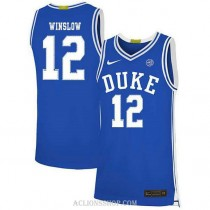 Womens Justise Winslow Duke Blue Devils #12 Authentic Blue College Basketball C76 Jersey