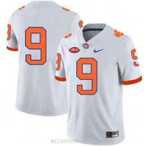 Womens Travis Etienne Clemson Tigers #9 Authentic White College Football C76 Jersey No Name