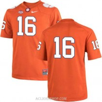 Womens Trevor Lawrence Clemson Tigers #16 Authentic Orange College Football C76 Jersey No Name