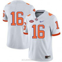 Womens Trevor Lawrence Clemson Tigers #16 Authentic White College Football C76 Jersey No Name