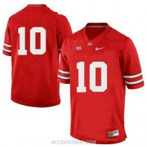 Womens Troy Smith Ohio State Buckeyes #10 Authentic Red College Football C76 Jersey No Name