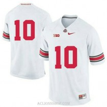 Womens Troy Smith Ohio State Buckeyes #10 Authentic White College Football C76 Jersey No Name