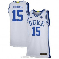 Youth Alex Oconnell Duke Blue Devils #15 Authentic White College Basketball C76 Jersey