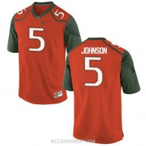 Youth Andre Johnson Miami Hurricanes #5 Authentic Orange Green College Football C76 Jersey