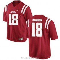 Youth Archie Manning Ole Miss Rebels #18 Authentic Red College Football C76 Jersey