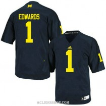 Youth Braylon Edwards Michigan Wolverines #1 Authentic Navy Blue College Football C76 Jersey