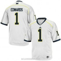Youth Braylon Edwards Michigan Wolverines #1 Authentic White College Football C76 Jersey