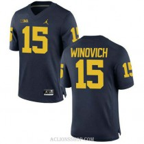 Youth Chase Winovich Michigan Wolverines #15 Authentic Navy College Football C76 Jersey
