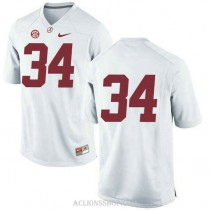 Youth Damien Harris Alabama Crimson Tide #34 Authentic White College Football C76 Jersey No Name