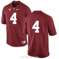 Youth Eddie Jackson Alabama Crimson Tide #4 Authentic Red College Football C76 Jersey No Name