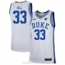 Youth Grant Hill Duke Blue Devils #33 Authentic White College Basketball C76 Jersey