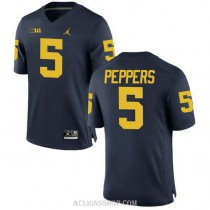Youth Jabrill Peppers Michigan Wolverines #5 Authentic Navy College Football C76 Jersey