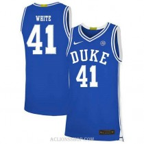 Youth Jack White Duke Blue Devils #41 Authentic Blue College Basketball C76 Jersey