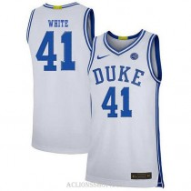 Youth Jack White Duke Blue Devils #41 Authentic White College Basketball C76 Jersey