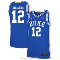 Youth Javin Delaurier Duke Blue Devils #12 Authentic Blue College Basketball C76 Jersey