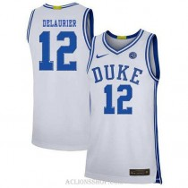 Youth Javin Delaurier Duke Blue Devils #12 Authentic White College Basketball C76 Jersey