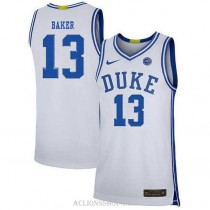 Youth Joey Baker Duke Blue Devils #13 Authentic White College Basketball C76 Jersey