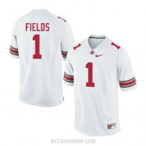 Youth Justin Fields Ohio State Buckeyes #1 Authentic White College Football C76 Jersey