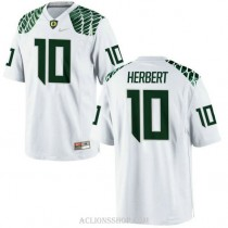 Youth Justin Herbert Oregon Ducks #10 Authentic White College Football C76 Jersey