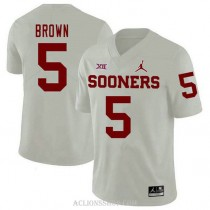 Youth Marquise Brown Oklahoma Sooners #5 Jordan Brand Authentic White College Football C76 Jersey