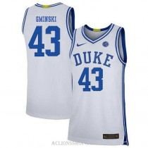 Youth Mike Gminski Duke Blue Devils #43 Authentic White College Basketball C76 Jersey