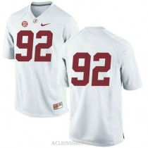 Youth Quinnen Williams Alabama Crimson Tide #92 Authentic White College Football C76 Jersey No Name