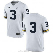 Youth Rashan Gary Michigan Wolverines #3 Authentic White College Football C76 Jersey No Name