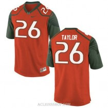 Youth Sean Taylor Miami Hurricanes #26 Game Orange Green College Football C76 Jersey