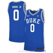 Youth Wendell Moore Jr Duke Blue Devils 0 Authentic Blue College Basketball C76 Jersey