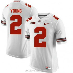 Mens Chase Young Ohio State Buckeyes #2 Authentic White College Football C76 Jersey