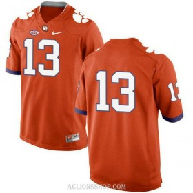 Mens Hunter Renfrow Clemson Tigers #13 New Style Authentic Orange College Football C76 Jersey No Name