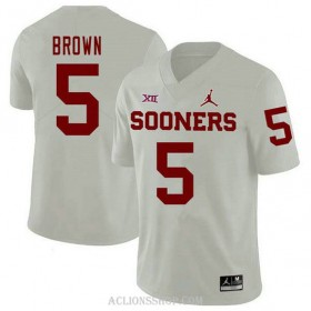 Mens Marquise Brown Oklahoma Sooners #5 Jordan Brand Authentic White College Football C76 Jersey