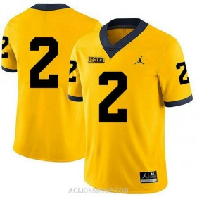 Mens Shea Patterson Michigan Wolverines #2 Authentic Yellow College Football C76 Jersey No Name
