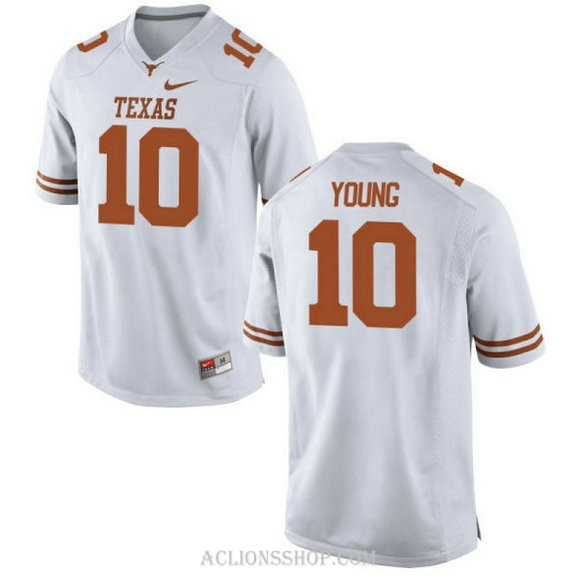 Mens Vince Young Texas Longhorns #10 Authentic White College Football C76 Jersey